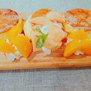 桃,パンケーキ